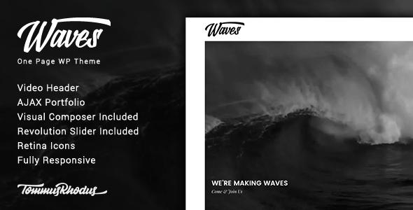 Waves v1.0.2 - Fullscreen Video One-Page WordPress Theme