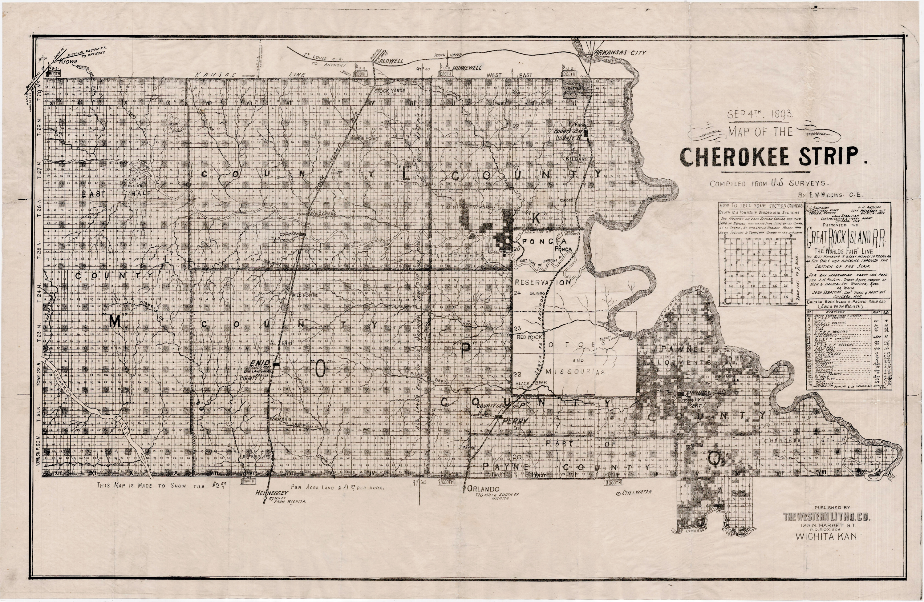 Map of the Cherokee Outlet published on September 4, 1893.