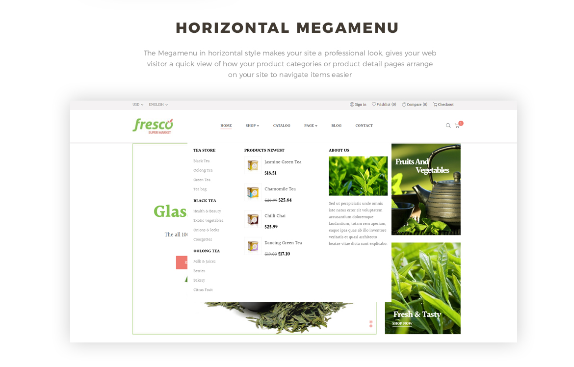 horizontal mege menu - tea shop