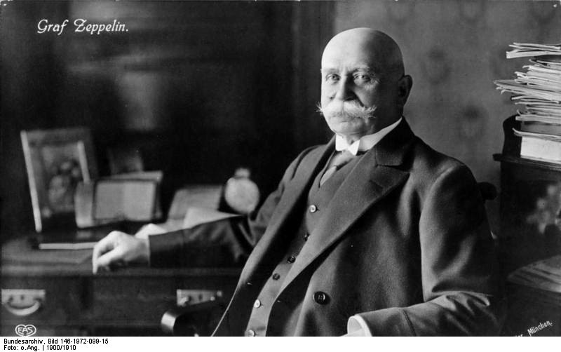 Ferdinand Graf Zeppelin probably in his study in the Kurgartenhotel in Friedrichshafen, circa 1900.