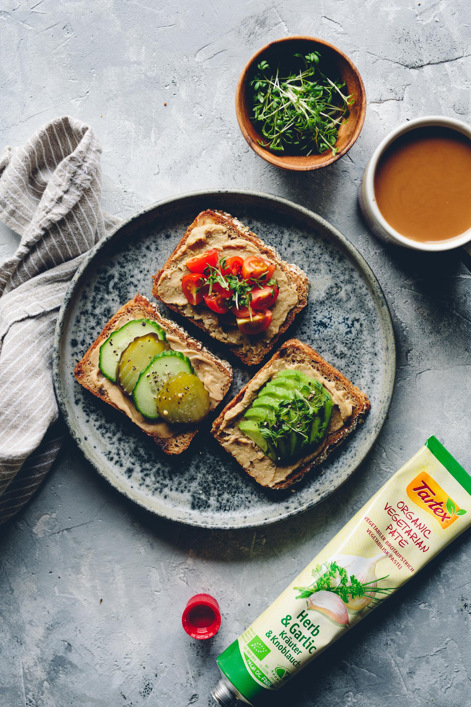 Toast with Tartex, Avo, Pickled Cucumber & Tomato | Cashew