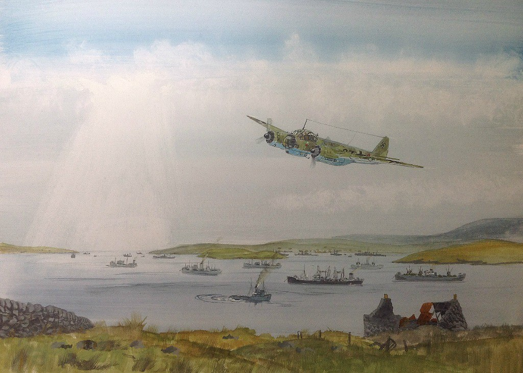Hit and run at Loch Ewe. A continuation of the 'hit and run' at the Aultbea Hotel painting. The Ju88 has passed over the ships and is climbing out over the road to Cove. Still some finishing to do