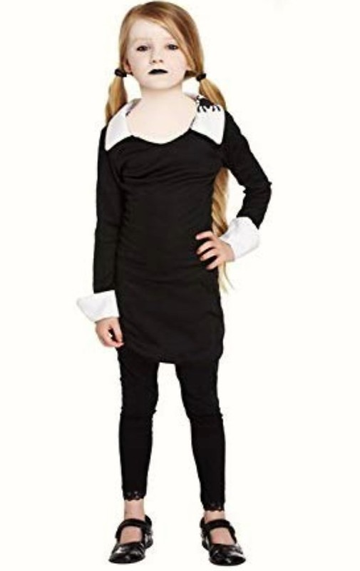 Girls Halloween Scary Daughter Fancy Dress Children Costume Wednesday Adams