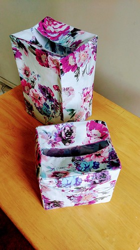 2 Fabric Tissue Box Covers in 2 Sizes