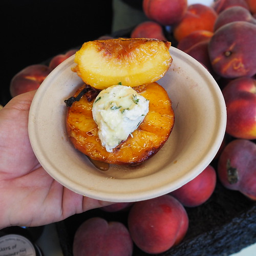 grilled peaches w herbed goat cheese