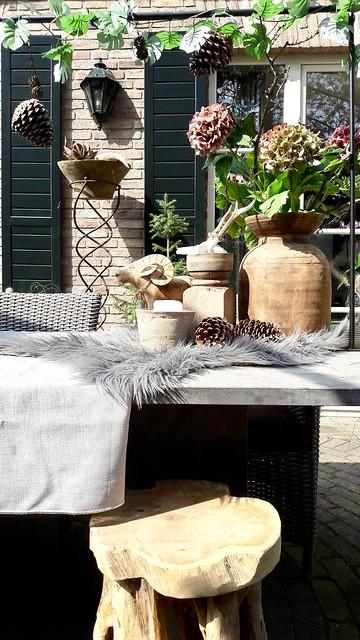Herfst tuintafel vachtje potten hortensia dennenappels