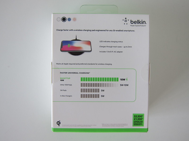 Belkin Boost Up Bold 10W Wireless Charging Pad - Box Back