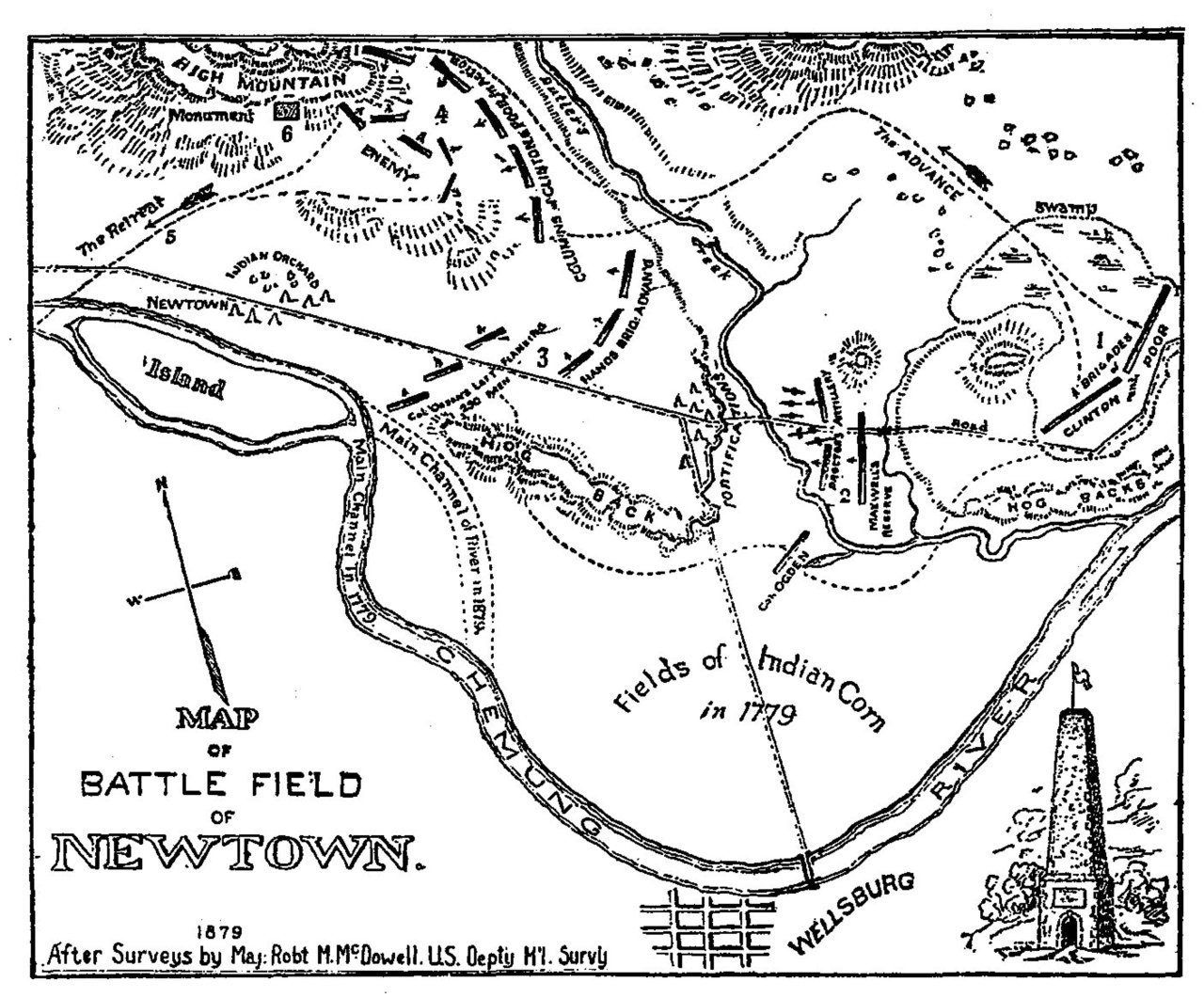 Map of the Newtown battlefield