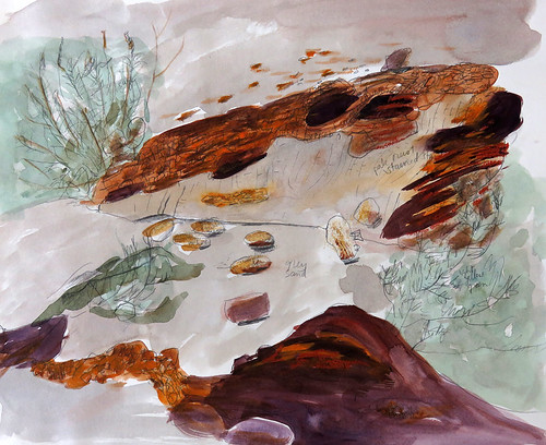 Canyonlands National Park in Utah: watercolour sketch of rocks and sage