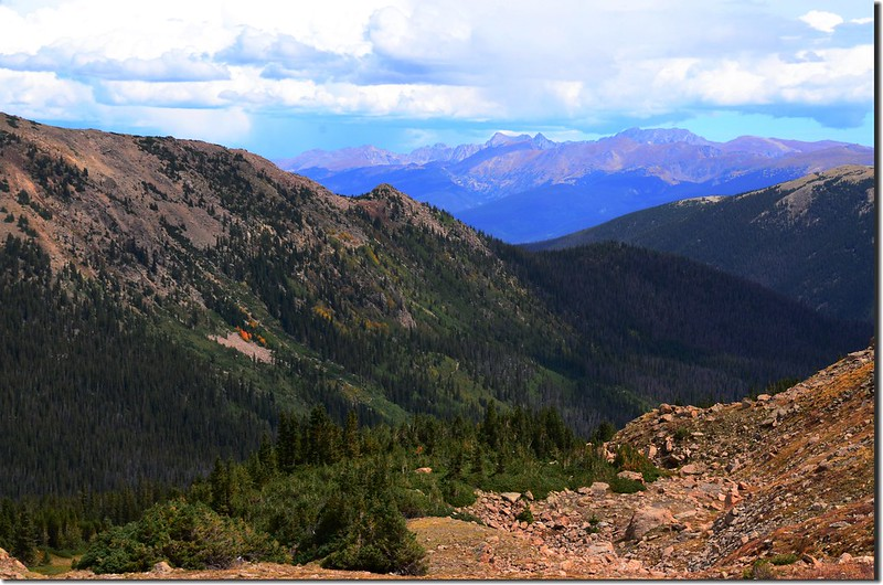 Looking northeast at Rocky Mountains & Indian Peaks from Vasquez Peak's west saddle (2)