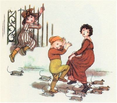 The rats of Hamelin. Illustration by Kate Greenaway for Robert Browning's