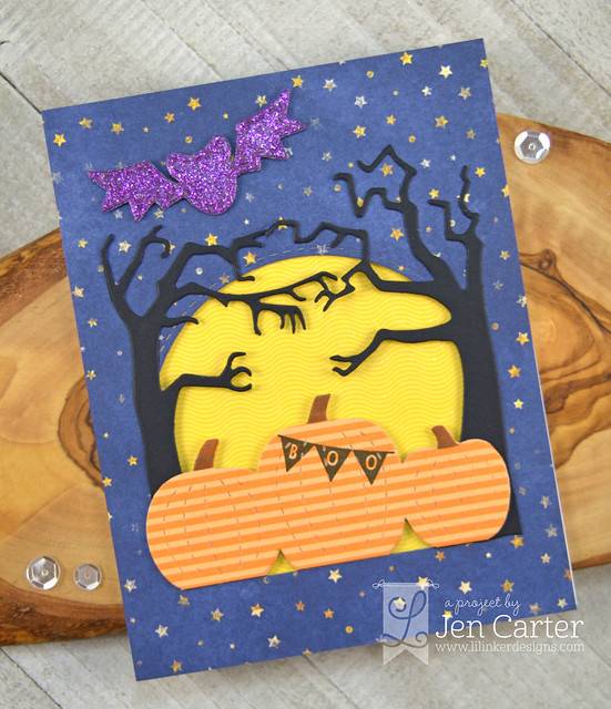 Jen Carter Harvest Moon Stitched Bats Spooky Trees Boo Balloons wm