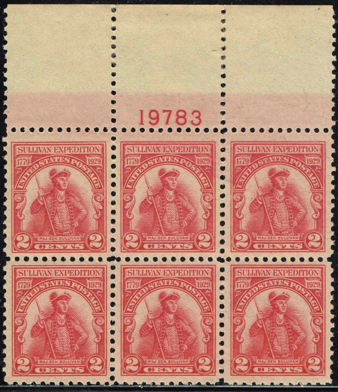 United States - Scott #657 (1929) plate block of 6 (top)