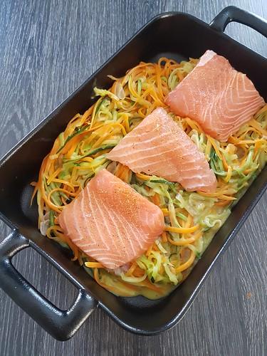 Saumon et Spaghettis de légumes