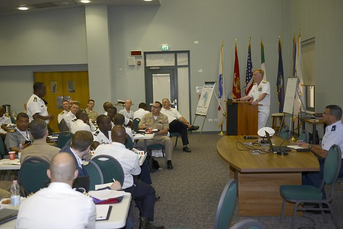 Thu, 09/06/2018 - 12:11 - 180906-N-KU586-016 NAVAL SUPPORT ACTIVITY NAPLES, Italy (Sept. 6, 2018) Adm. James G. Foggo III, commander, U.S. Naval Forces Europe-Africa and commander, Allied Joint Force Command Naples, answers questions during the Maritime Security Working Group (MSWG) at Naval Support Activity Naples, Italy, Sept. 6, 2018. The MSWG provides maritime nation partners from all over Africa a forum to discuss common threats and challenges to maritime security. U.S. Naval Forces Europe-Africa/U.S. 6th Fleet, headquartered in Naples, Italy, conducts the full spectrum of joint and naval operations, often in concert with allied, joint, and interagency partners in order to advance U.S. national interests and security and stability in Europe and Africa.  (U.S. Navy photo by Chief Mass Communication Specialist Christopher Delano/Released)
