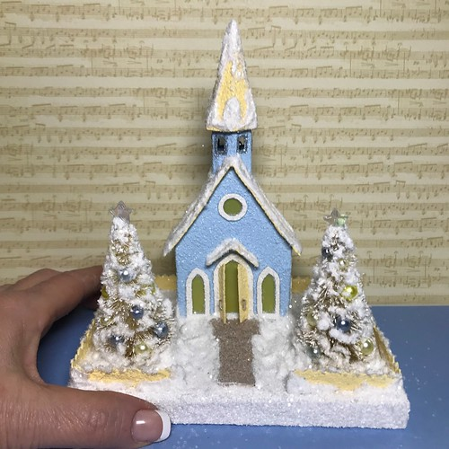 Mini light blue and ivory Putz church