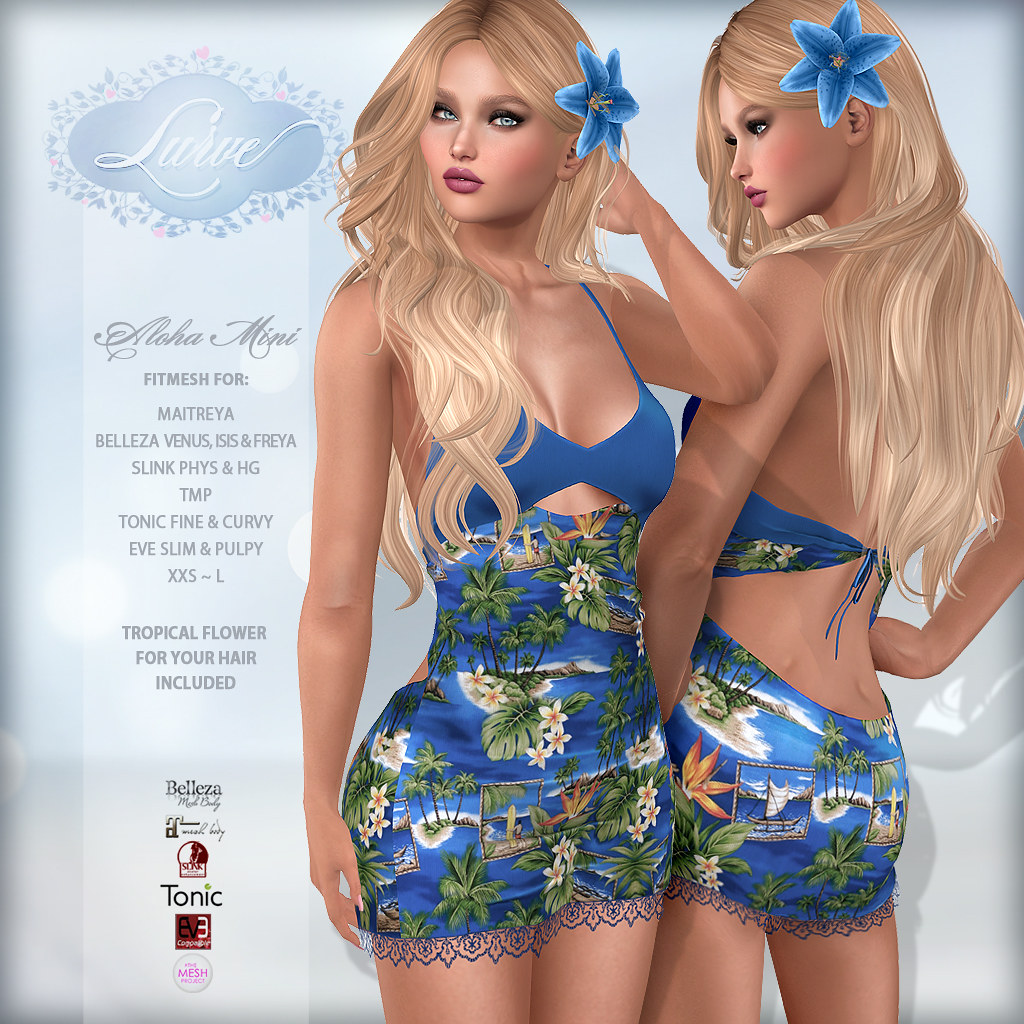 *Lurve* Aloha Love Fitmesh Dress in Ocean - TeleportHub.com Live!