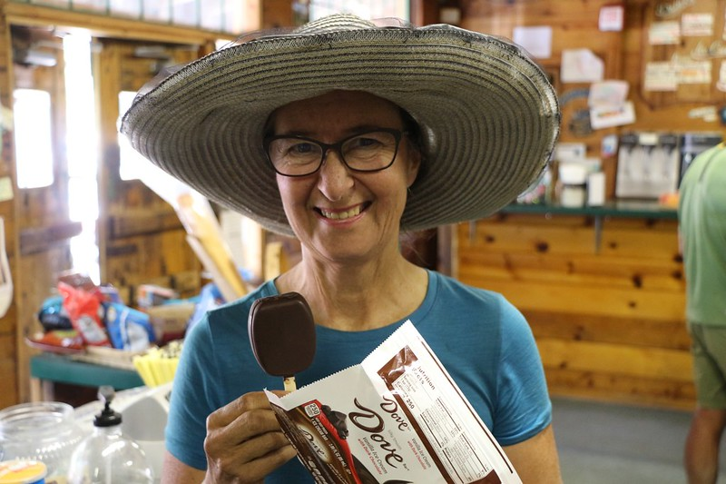 Vicki gets one of the rewards of civilization - ice cream from the store at Echo Lake!