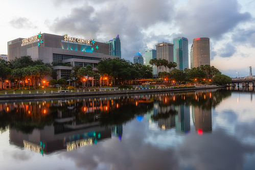 beercan florida hillsboroughriver reflection rivergatebuilding skyline strazcenterfortheperformingarts sunrise sykesbuilding tampa unitedstates us