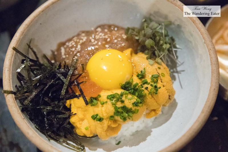 Saewoojang uni dup bap - Cured shrimp and uni over rice
