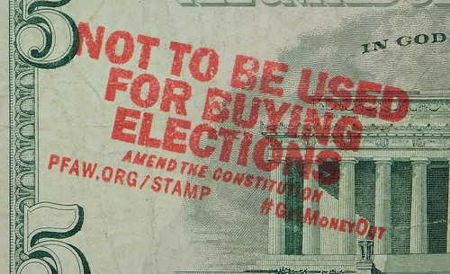 Not to be used for buying elections overstamp on $5 bill