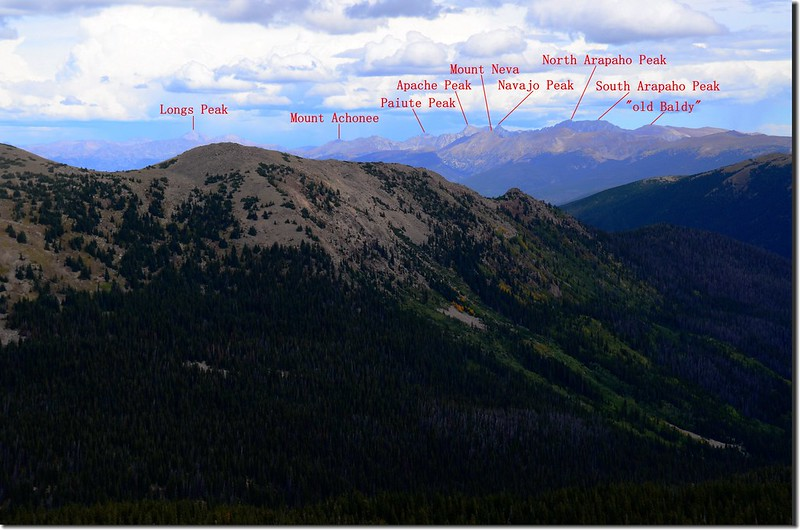 Looking northeast at Rocky Mountains & Indian Peaks from Vasquez Peak's west saddle (12)-1