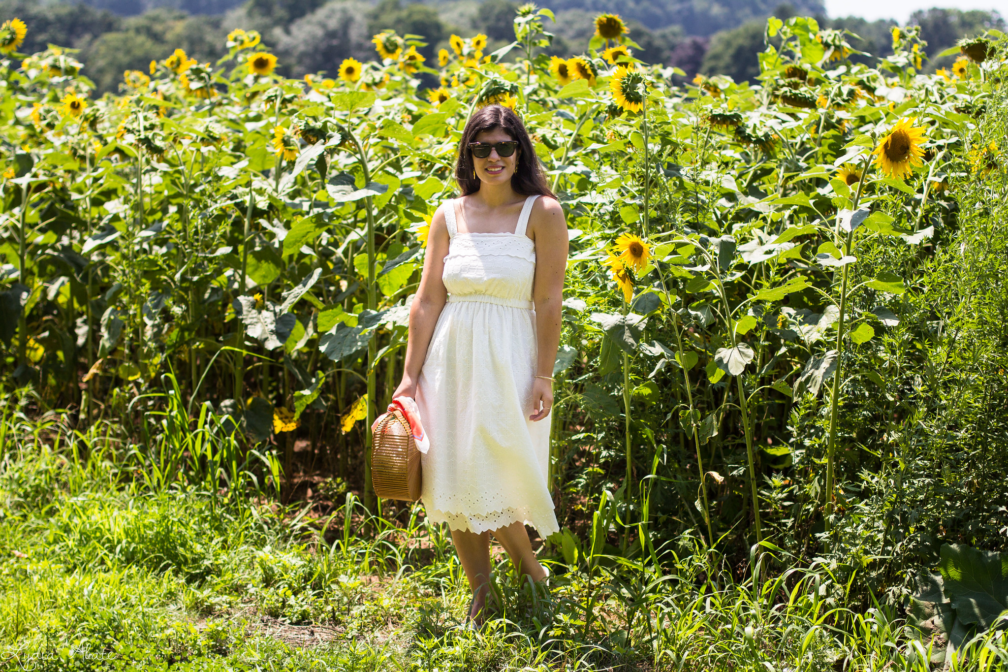 white eyeelt dress, bamboo bag, sunflower field-10.jpg