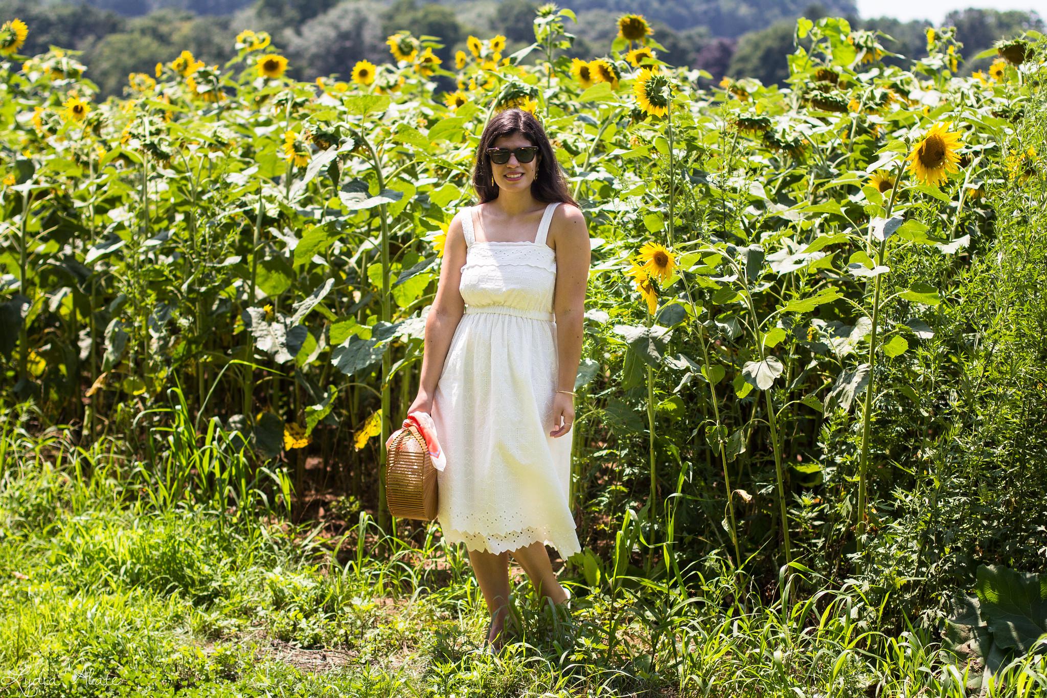 white eyeelt dress, bamboo bag, sunflower field-10.jpg