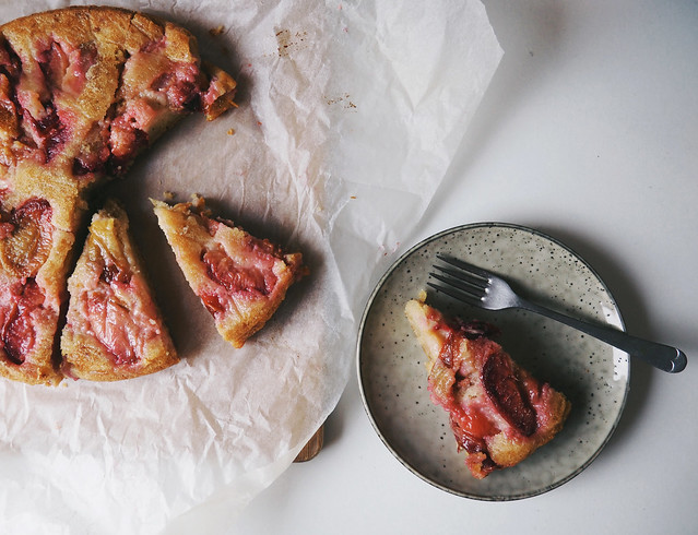 Upside Down Plum & Olive Oil Cake - Being Little recipe baking fruit bakes cakes