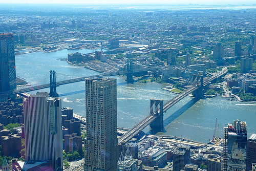 Manhattan and Brooklyn Bridges, from One World Trade Center