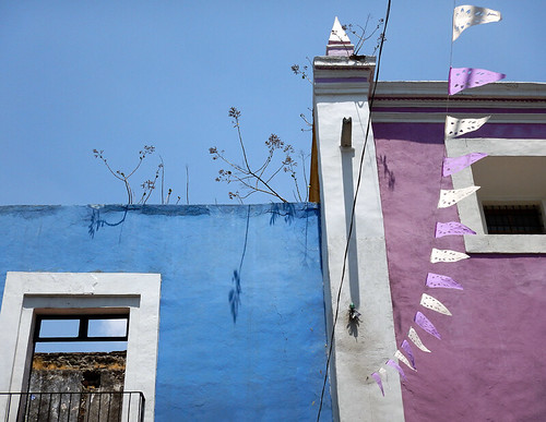 Purple & blue walls in Puebla, a UNESCO Heritage site in Mexico