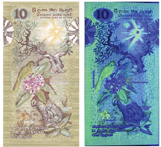 ri Lanka banknote ultraviolet features