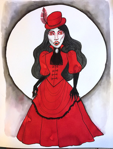 36 - Vampire Lady Illustration- Art Journal Page