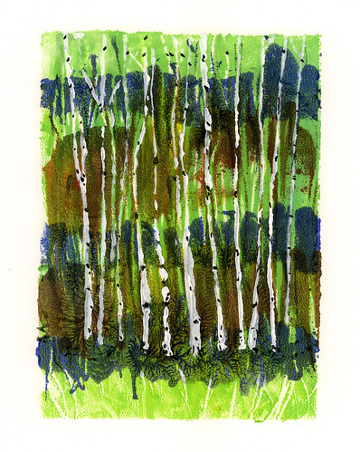 birches printmaking print acrylic trees monotype landscape