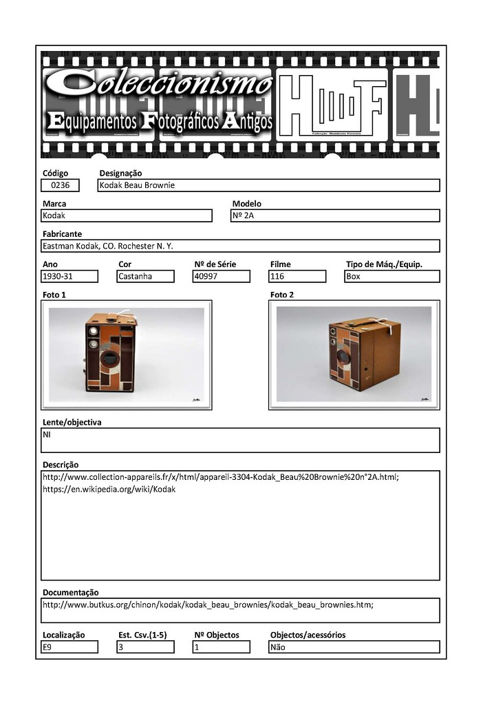 Inventariação da colecção_0236 Kodak Beau Brownie nº 2A Brown