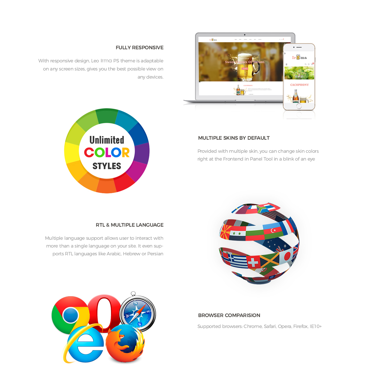 Prestashop 1.7 theme features - Leo Irma - Drink, Beer, Wine, Alcohol, Brewery store