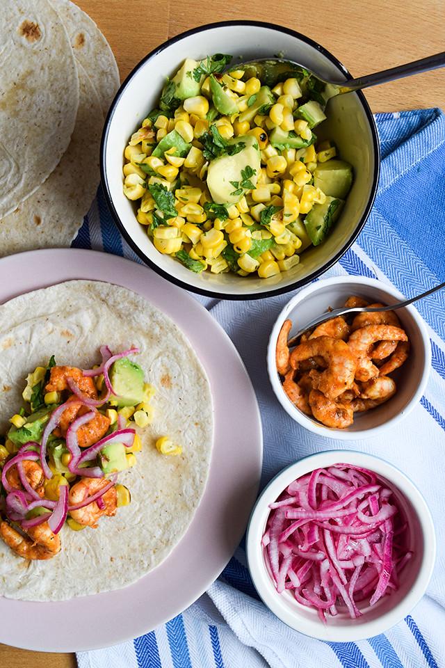 Cajun Prawn Tacos with Barbecue Corn & Avocado Salsa #tacos #mexican #cajun #prawn #shrimp #dinner #avocado #corn #sweetcorn