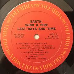 EARTH, WIND & FIRE:LAST DAYS AND TIME(LABEL SIDE-B)