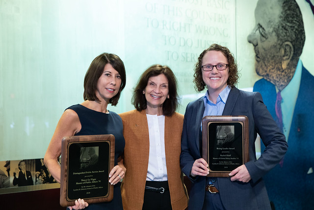 Distinguished Public Service Award Recipient Nancy La Vigne (MPAff '91), Dean Angela Evans and Rising Leader Award Recipient Rachel Hoff (MGPS '14)