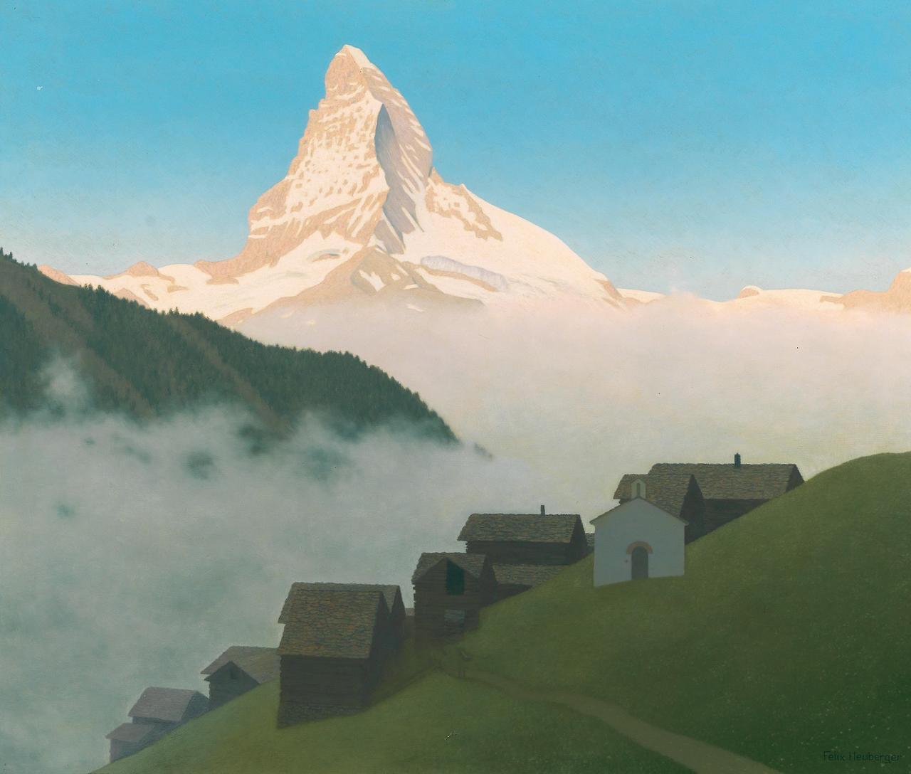 Felix Heuberger (Austrian, 1888-1968), Rising mist (Matterhorn). Oil on hardboard, 85 x 96.5 cm.