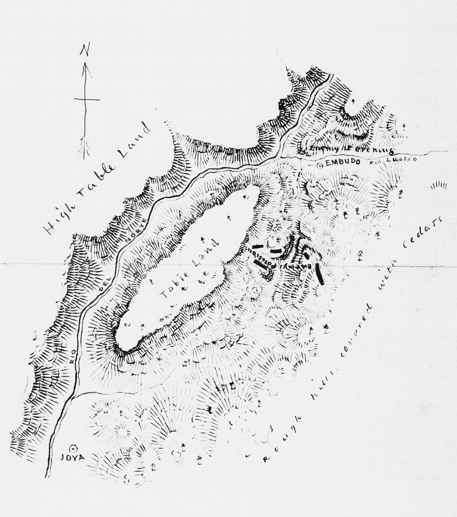 Battle of Embudo Pass, drawn by US Army Corps of Engineers artist JG Bruff in 1847 and obtained from the Library of Congress