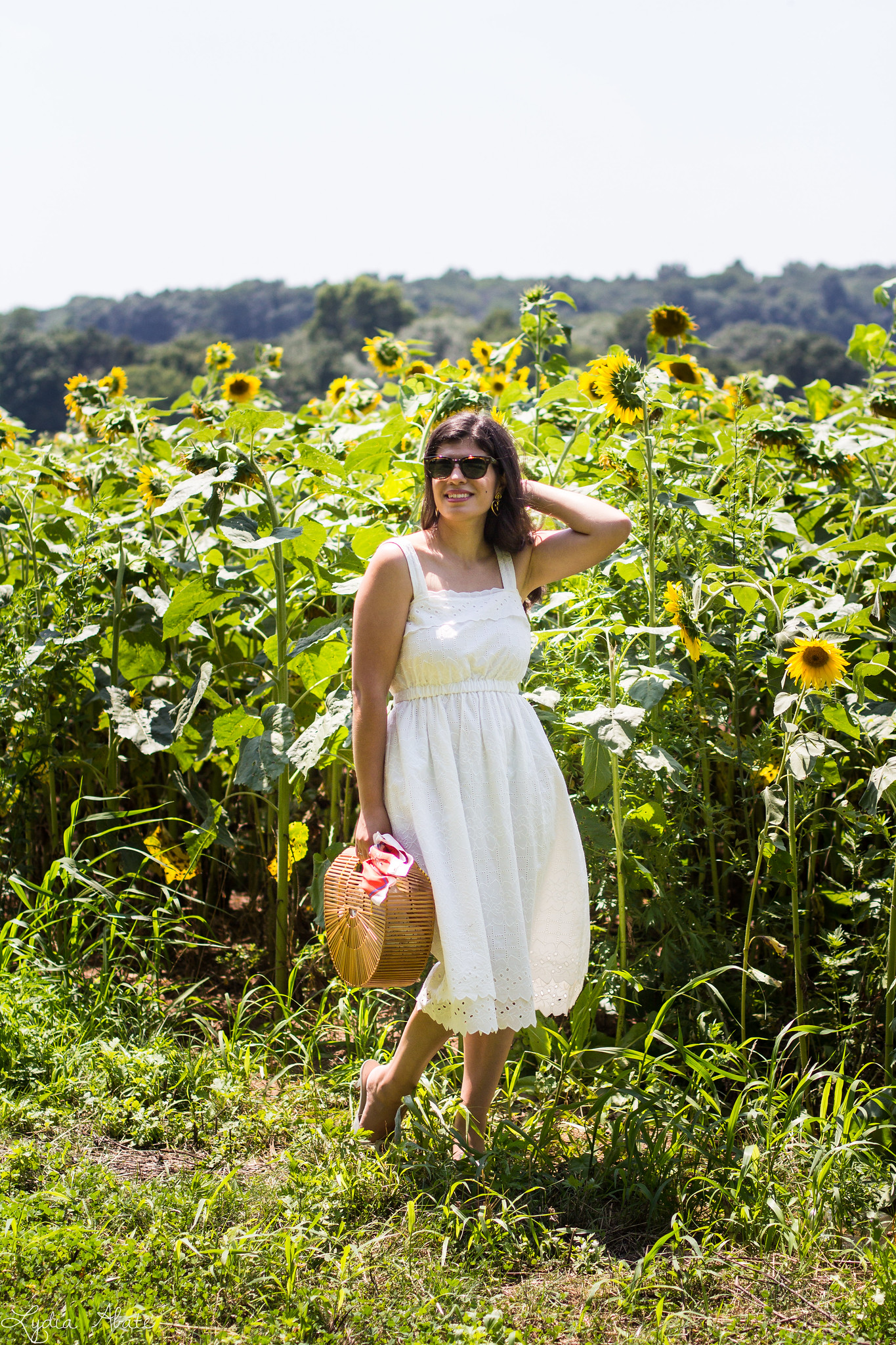 white eyeelt dress, bamboo bag, sunflower field-12.jpg