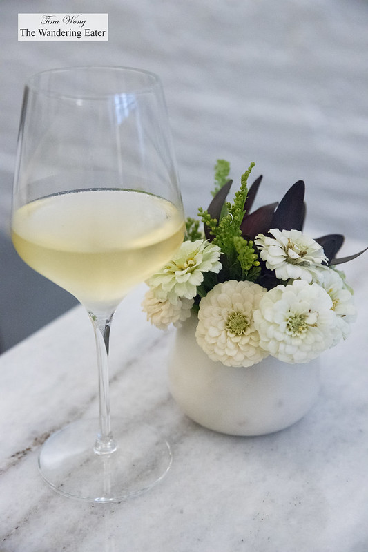 Glass of Domaine Faiveley Bourgogne Blanc 2015, France