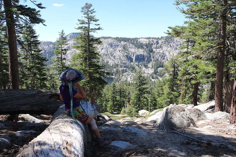 We took a break on the way down from Jakes Peak - Rubicon Lake below us and Phipps Peak on the left
