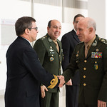 Ju, 09/20/2018 - 13:30 - On Thursday, September 20, 2018, the William J. Perry Center for Hemispheric Defense Studies honored General Salvador Cienfuegos Zepeda, Secretary of National Defense of Mexico, and Escola Superior de Guerra (ESG), National War College of Brazil, with the 2018 William J. Perry Award for Excellence in Security and Defense Education. Named after the Center's founder, former U.S. Secretary of Defense Dr. William J. Perry, the Perry Award is presented annually to individuals who and institutions that have made significant contributions in the fields of security and defense education. From the many nominations received, awardees are selected for achievements in promoting education, research, and knowledge-sharing in defense and security issues in the Western Hemisphere. Awardees' contributions to their respective fields further democratic security and defense in the Americas and, in so doing, embody the highest ideals of the Center and the values embodied by the Perry Award.