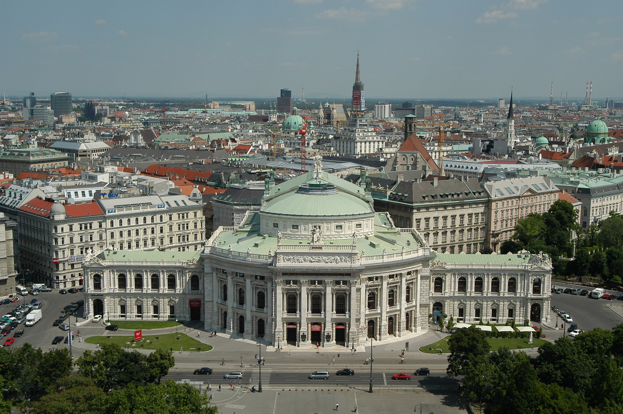 Aerial view of the Burgtheater in Vienna Austria. Photo taken on June 8, 2004.