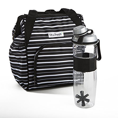 Cheap Fit & Fresh Piper Daypack for Adults with Jaxx Water Bottle, Black Uneven Stripe