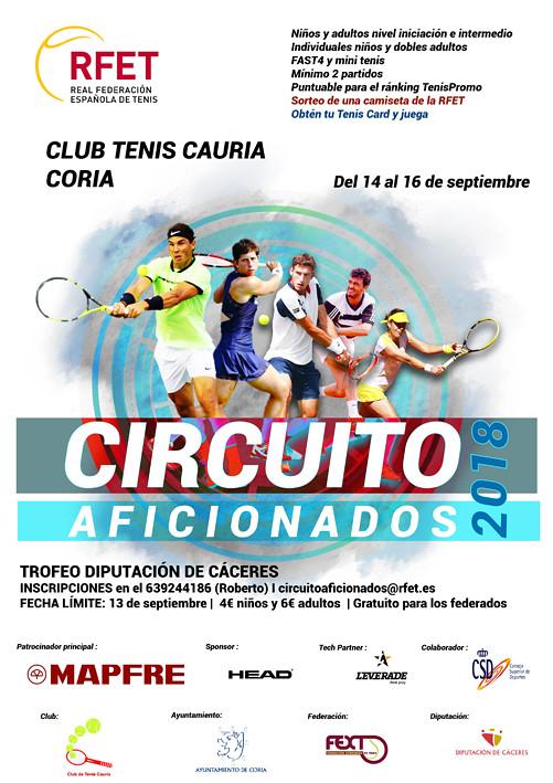 La Ciudad de Coria acoge el II Torneo del Circuito de Aficionados de la Real Federación Española de Tenis