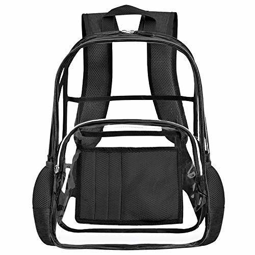 Clear Backpack for Women and Men Fit 15.6 inch Laptop See Through College School Bag for Student Cute Bookbag for Kids Girls Boys Transparent PVC Knapsack Daypack for Travel Work Gym Hiking,Black For Sale