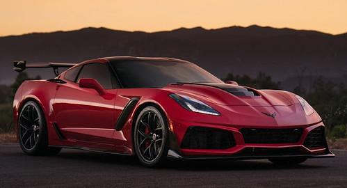 Long Beach Red Corvette ZR1 Puts On Satin Black Wheels For Sunset Pose